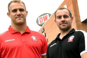 Ian Watson with captain Lee Mossop at the DW Stadium this week