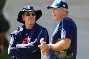 I'M IN CHARGE: Trevor Bayliss (left) with bowling coach Chris Silverwood, who has succeeded the Australian as the team's new head coach. Picture: Mike Egerton/PA.