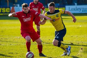 Aiden Savory in action during Tadcaster Albion's 4-0 win over Droylsden. Picture: Matthew Appleby