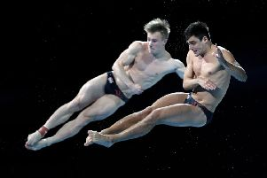 In unison: Jack Laugher and Chris Mears during the men's synchronised 3m springboard.