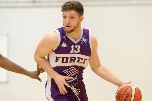 Leeds Force captain Isaac Mourier (pictured) and team-mate Gazemend Sinani worked hard for points but to no avail against Leicester Riders. PIC: Bruce Rollinson