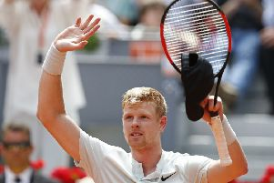 Yorkshire's Kyle Edmund has reached the quarter-finals of the Madrid Open. PIC: AP Photo/Paul White