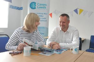 OFFERING SUPPORT: Carers Leeds chief executive, Val Hewison, chats to employer Chris Walker from British Gas.
