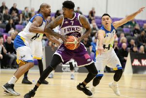 Leeds Force's Tavarion Nix lines up a shot against Cheshire Phoenix.