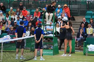 Johanna Konta argues with umpire Paula Vieira Souza during her WTA Singles Final match with Ashleigh Barty at the Nature Valley Open at Nottingham. Picture: Mike Egerton/PA Wire