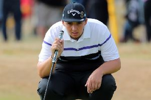 Howley Hall's Marcus Armitage surveys the line of a putt during day two of the Open Championship when he shot two-under-par 69 (Picture: Richard Sellers/PA Wire).