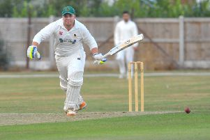 Follifoot batsman 'Ben Whitehead makes a run for it at Bilton. PIC: Steve Riding