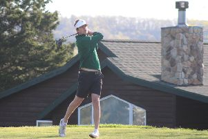 Tom North, of Howley Hall ' seen playing for William Woods University, in Fulton, Missouri ' hopes to graduate onto the European Tour one day (Picture: William Woods University).