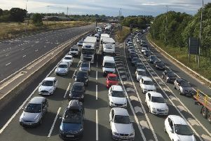 An overturned lorry caused chaos and delays on the M6 at junction 31