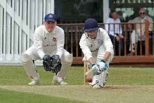 On-song 'Farsley batsman Dan Hodgson. PIC: Tony Johnson