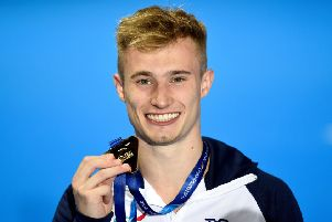 Jack Laugher with the gold he won in the 1m springboard at the European Championships (Picture: Ian Rutherford/PA Wire).