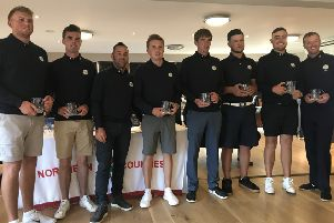 Yorkshire captain Darryl Berry, third left, with his winning team at the Northern Counties championship.