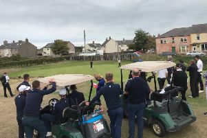 Yorkshire clinch victory over Cumbria thanks to Josh Morton (Huddersfield) holing a putt at the 17th to win his match (Picture: Yorkshire Union of Golf Clubs).