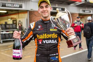 Morley's Dan Cammish celebrates another podium finish in the BTCC. Picture: Dennis Goodwin/Network Images