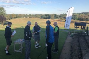 The first group at Lindrick on the second day of the 2018 Yorkshire Challenge getting ready to tee off.