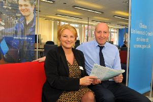 Gill Hall, senior operations leader at the Harrogate Jobcentre, with Chris Joyce, customer service leader.
