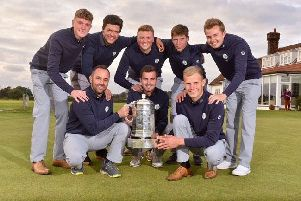 Yorkshire's players with their captain Darryl Berry and the English men's county championship trophy (Picture: Leaderboard Photography).