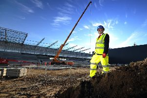 York City chairman Jason McGill surveys the new York City Stadium at Monks Cross that will become home to both the football club and York City Knights rugby league club (Picture: Simon Hulme).