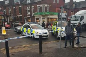 Police at the scene on Roundhay Road on Monday.'Photo: Lucy Lo