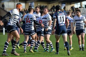 Yorkshire Carnegie players celebrate Chris Elder's try against Doncaster Knights.