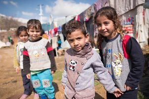 Syrian refugees at the Qab Elias Informal Settlement in the Bekaa Valley in eastern Lebanon close to the Syrian border. Many of the residents will eventually be given residency in the UK.