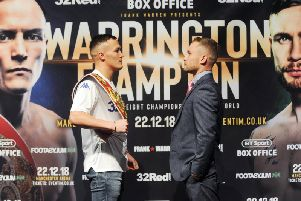 Josh Warrington and Carl Frampton face off at a press conference confirming their IBF title fight.