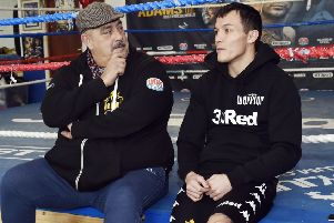Josh Warrington with his father and trainer Sean O'Hagan.