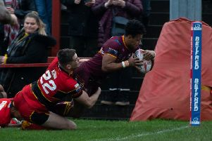 Johnny Campbell touches down in the corner for Batley Bulldogs against Dewsbury Rams.
