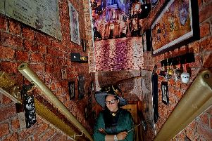 Catherine Hamilton-Edwards dressed as Prof Minerva McGonagall in her Harry Potter themed house in Bramnley, Leeds.