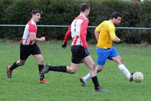 Robbie Rice scores the first goal for Glasshougton Rock in the 2-2 draw with Old Centralians. PIC: Steve Riding