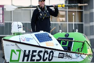 Army veteran Charlie Martell visit Leeds Royal Armouries before setting off on a 5,000 mile row across the North Pacific.