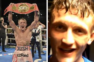 Leeds boxer Josh Warrington (left) and Tom Bell (right)