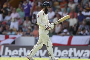 England's Moeen Ali leaves the pitch after being dismissed for a first ball duck.