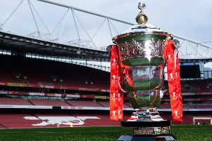 The Rugby League World Cup trophy at the Emirates Stadium, Arsenal