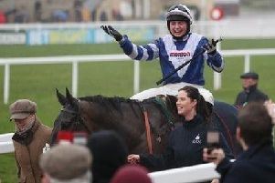 Jubilant jockey Bryony Frost leads in Frodon after their victory in the big race of the day, the BetBright Cotswold Chase.