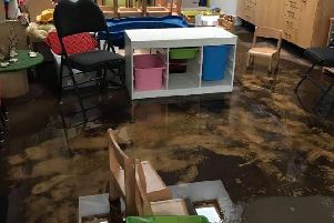 The damage following the flood at Headingley Pre-School