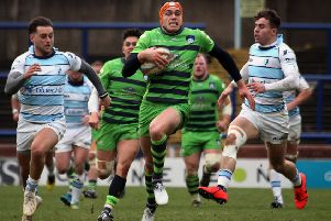 Chris Elder races through for a try against Bedford Blues. PIC: Varley's Picture Agency