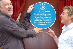 Pete Townsend (left)  and Roger Daltrey unveil a civic plaque at Leeds University to mark their famous performance at the Refectory in Leeds where the 1970 'Live at Leeds' album was recorded. (Picture credit: Ross Parry Agency).