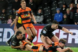 Castleford Tigers' Michael Shenton scores a try during the Super League match against Hull FC at the KCOM Stadium (Picture: Richard Sellers/PA Wire).