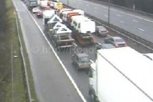 Traffic is at a standstill on the M6 northbound between J23 Haydock and J24 Ashton-in-Makerfield. Pic-Motorway Cameras.
