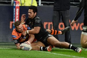 Winger James Clare got his try scoring for the season under way in Castleford's victory over Hull FC last time out. Picture: Jon Medlow Photography.