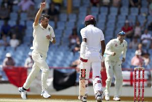 England's James Anderson celebrates taking the wicket of the West Indies' stand-in captain Kraigg Brathwaite (Picture: Ricardo Mazalan/AP).