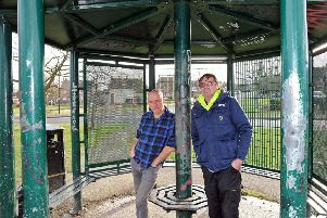 Mick Bagshaw and fellow campaigner Paul Mann at the youth shelter in Inkersall.
