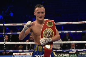 Josh Warrington v Carl Frampton IBF Featherweight World title fight Manchester Arena sat 22md dec 2018'The winner Josh Warrington who retained his belt