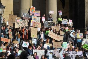 Students and young people take part un the the first ever UK-wide Youth Strike 4 Climate, protest in Leeds at Leeds Town Hall. Picture Tony Johnson.