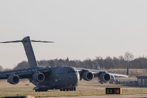 The C17 arrives at Leeds Bradford