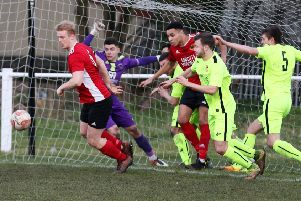 Action from Knaresborough Town's 5-0 defeat to Thackley. Picture: Craig Dinsdale.