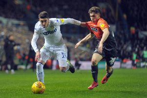 Swansea City winger Pablo Hernandez battles Daniel James at Elland Road last week.