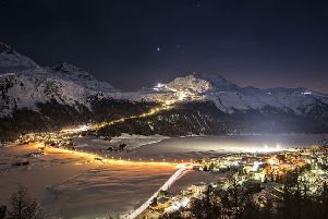 GOING DOWN: The 4.2km-long night skiing piste in Corvatsch, St Moritz.