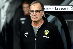 Leeds United head coach Marcelo Bielsa during the club's 4-1 win over Derby County earlier this season.
